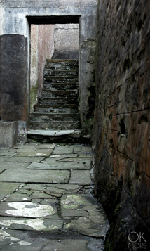Travel photography destination Shetland island, Scotland street stairs stone lerwick
