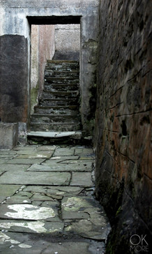 Travel photography destination Shetland island, Scotland street stairs stone lerwick