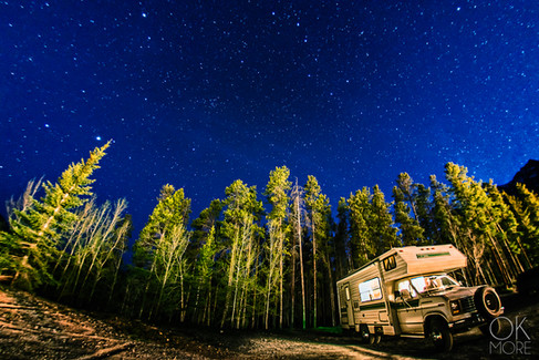 Travel photography, destination Canada Rockies night stars and milkyway, campervan