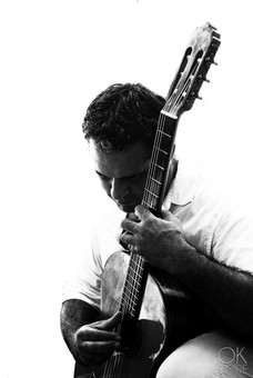 Musician photography. Portrait of a guitar player