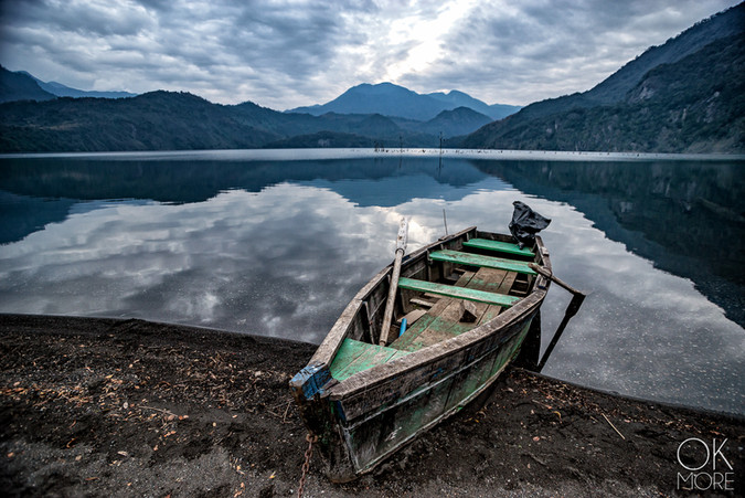 Travel photography, destination south Chile: villarrica, lake, boat, volcanoes