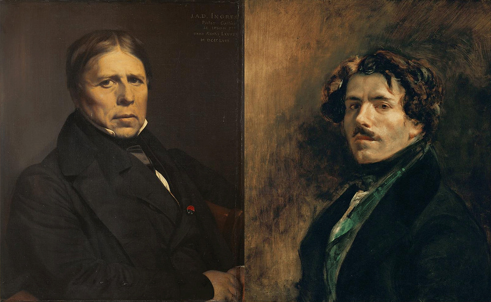 Ingres on the left, Delacroix on the right. Even here, the difference in the styles is visible. Courtesy of Artstor.