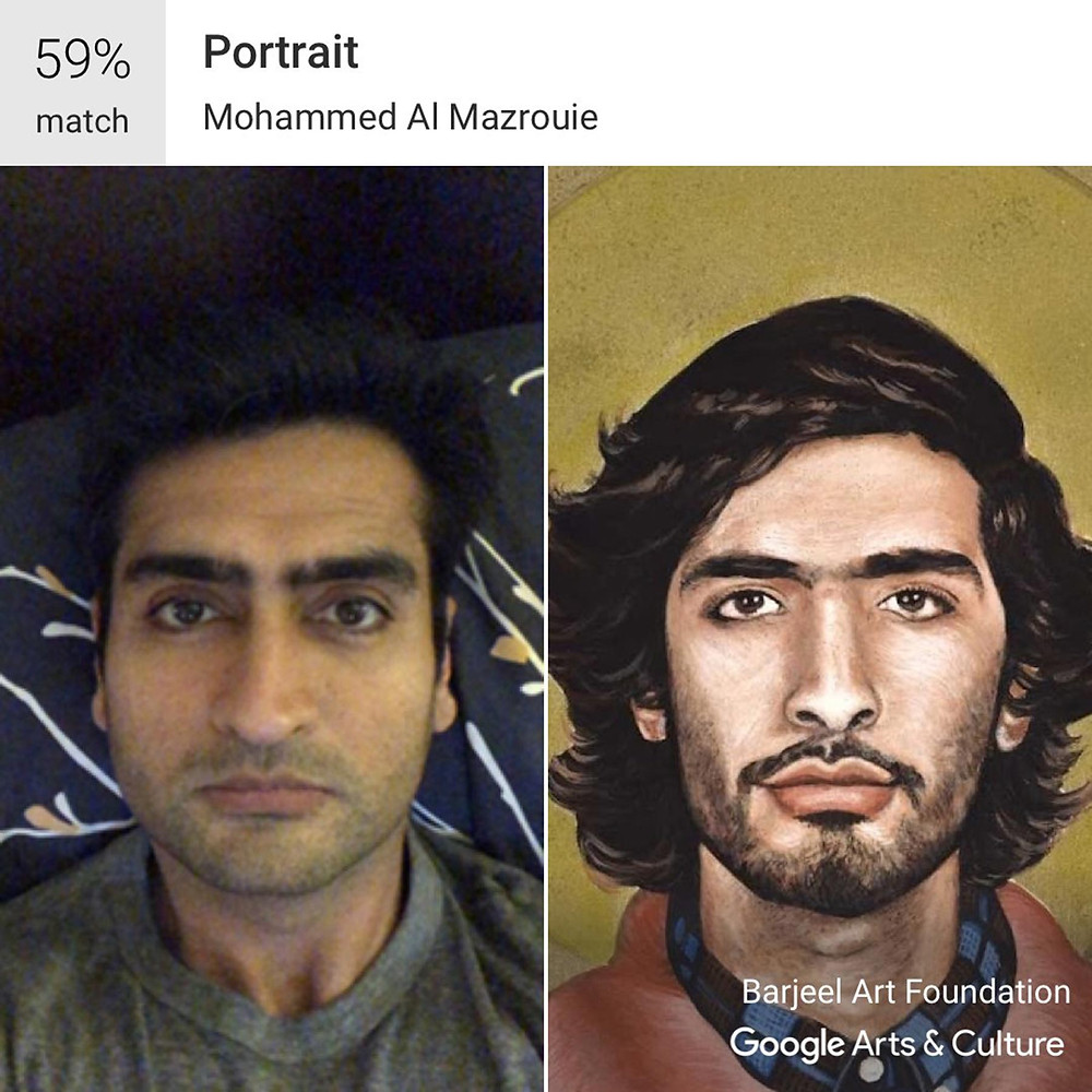 Kumail Nanjiani's selfie matched with a portrait by Mohammed Al Mazrouie