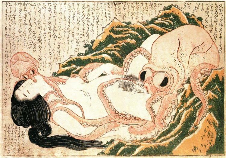 'Dream of The Fisherman's Wife', 1814, by Katsushika Hokusai