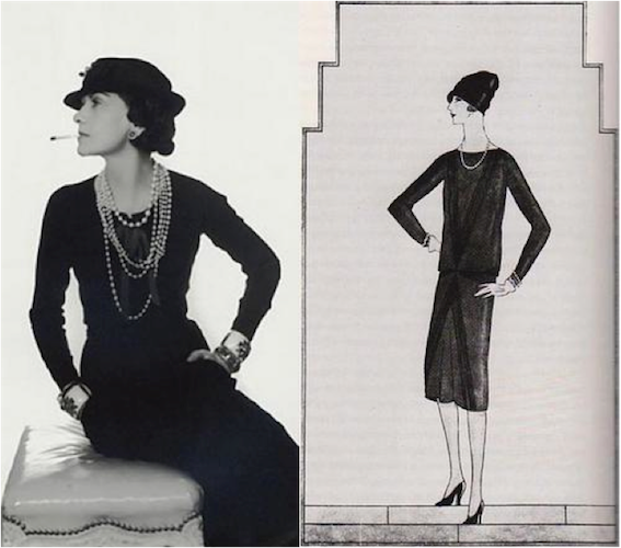 Coco Chanel in the first LBD with the first sketch of the LBD, Photo Credit: Paste Magazine