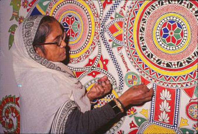 Madhubani paintings aren't created using paint and a brush but with fingers, twigs and matchsticks