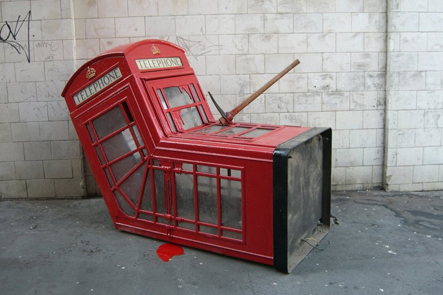 Image (4): Banksy's The Telephone Booth in Soho, London