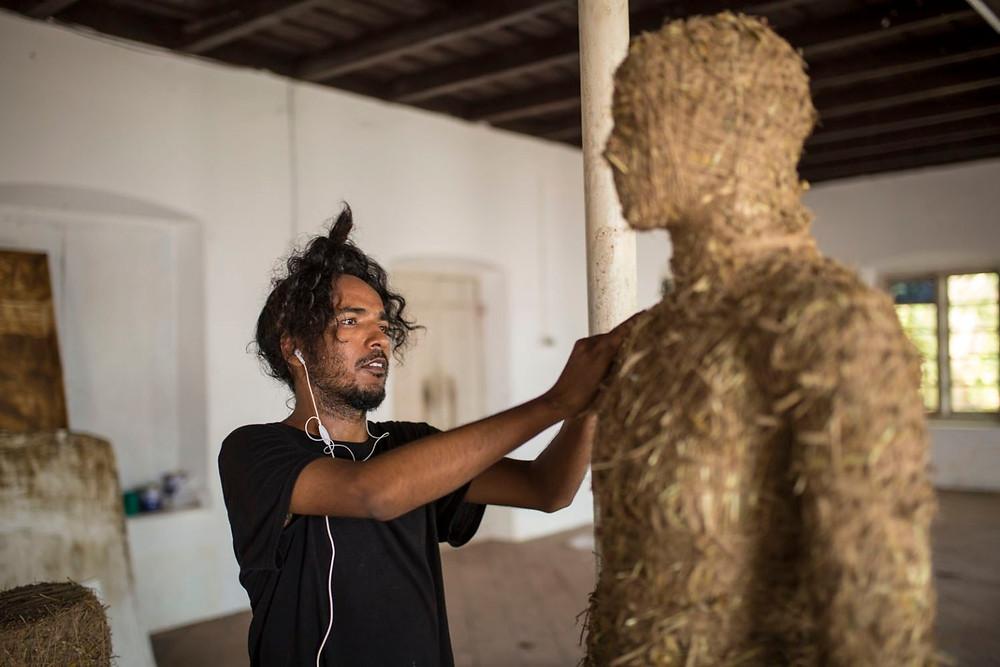 Dharmendra Prasad at work before the Kochi-Muziris Biennale 2018
