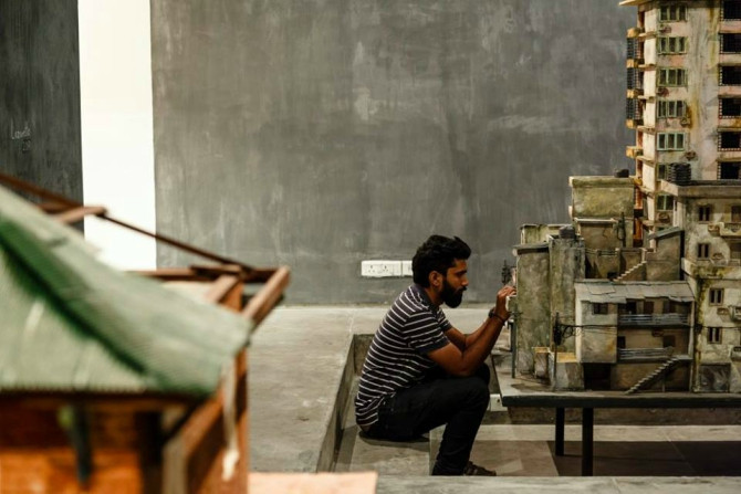 Sahil Naik at the set up of his previous exhibition 'Ground Zero' at Experimenter Hindustan Road