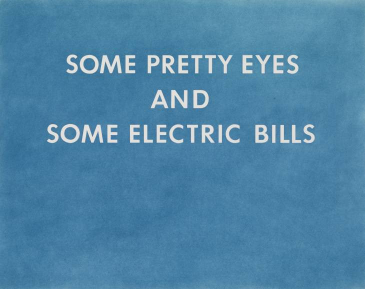 Ed Ruscha, ''Pretty Eyes, Electric Bills', 1976. Image credits: Tate Museum
