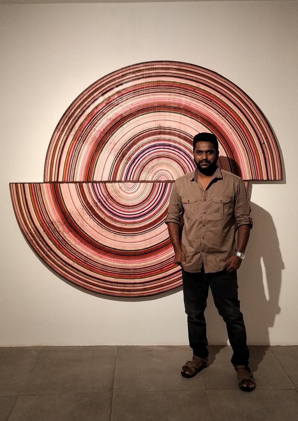 Kumaresan Selvaraj at the exhibition 'Lines of Sight' at Exhibit 320