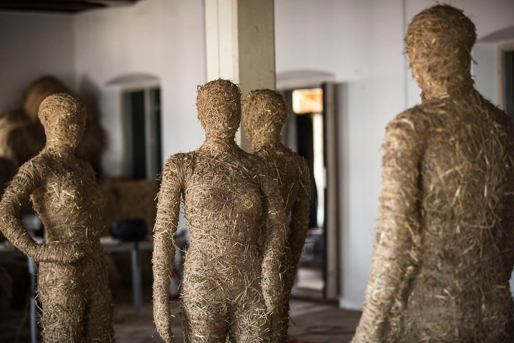 Dharmendra Prasad uses a variety of natural materials such as bamboo and hay to create characters and cultural landscapes