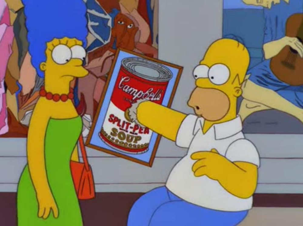 Homer punching through one of Andy Warhol's 'Soup Cans'