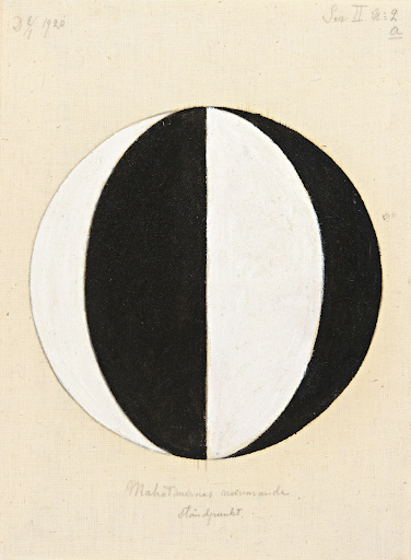 """""""No. 2a, The Current Standpoint of the Mahatmas,"""" from 1920.Image courtesy the Hilma af Klint Foundation, Stockholm. Klint made a series of works with a single circle, half black and half white to denote a balanced duality. Variations like the one shown here meant that different religions simply constitute part of this duality."""