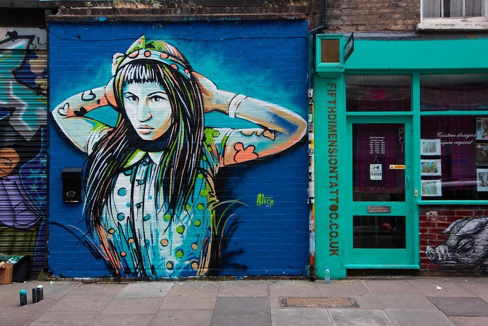 Alice Pasquini street art in Shoreditch, London