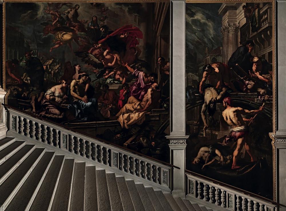 The Virgin Appearing to the Plague Victims, oil on canvas (335×555 cm e 635×705 cm), 1666 by Antonio Zanchi at Scuola Grande di San Rocco