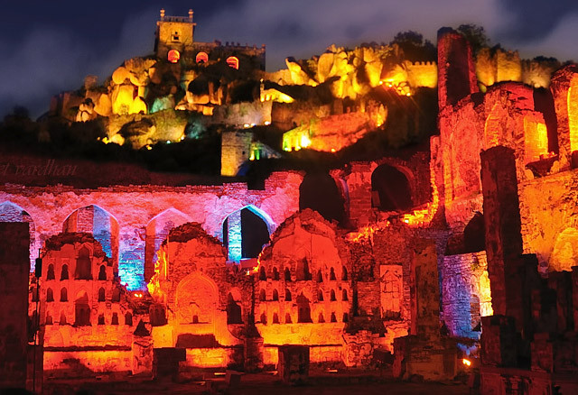 Golconda Fort during the light and sound show, Image credits: Telangana Tourism