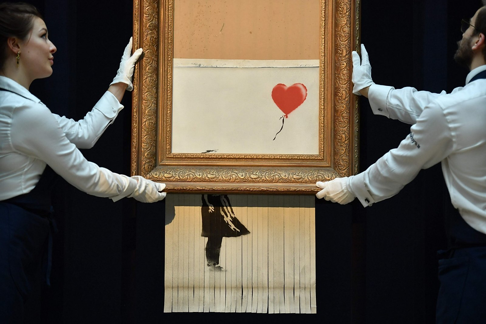 'Girl with Balloon' by Banksy, shredded