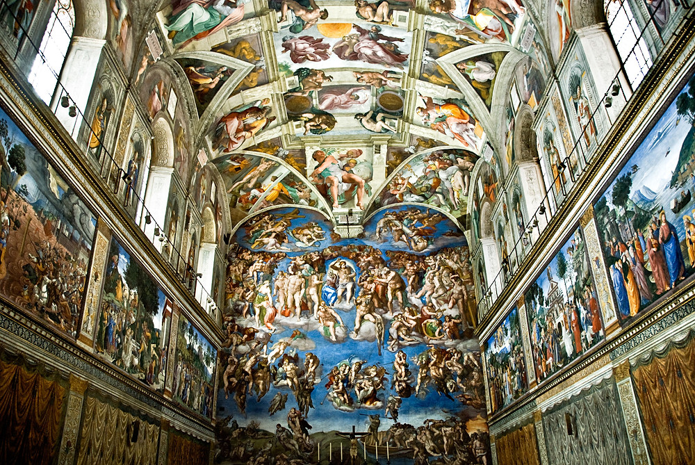 Ceiling of the Sistine Chapel painted by Michelangelo