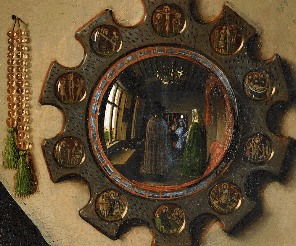 Detailed look at the convex mirror in Jan van Eyck's , 'Arnolfini Portrait'