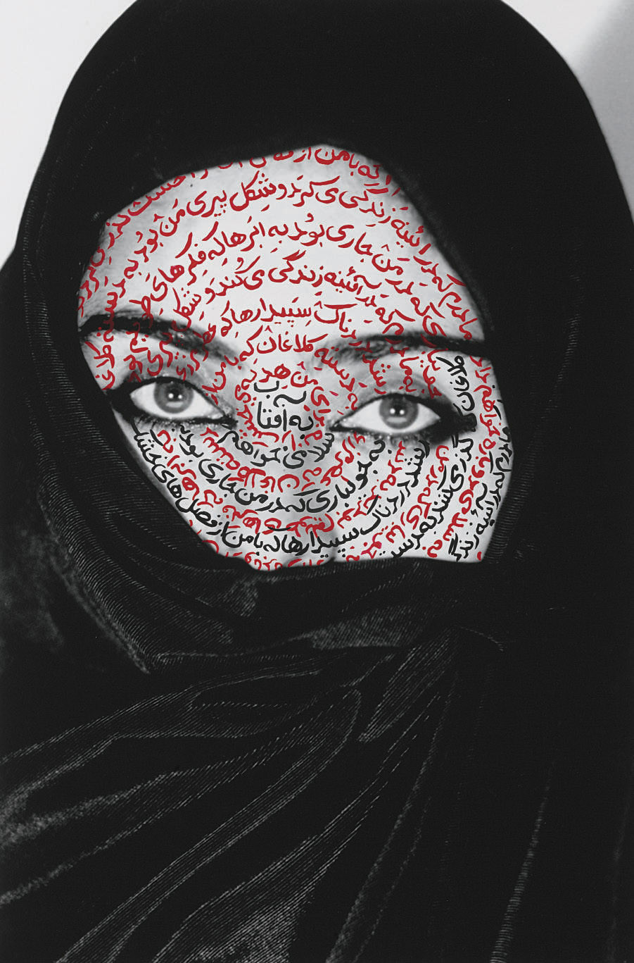 The Moca Photography Portfolio by Shirin Neshat with urdu text on female with Hijab and piercing eyes