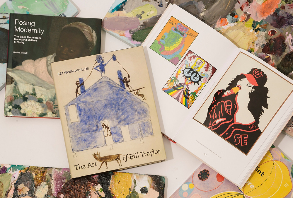 """From left: """"Posing Modernity: The Black Model From Manet to Matisse to Today""""; """"Between Worlds: The Art of Bill Traylor""""; and """"Hairy Who? 1966-1969,"""" open to three works by Karl Wirsum. Image credits: New York Times"""