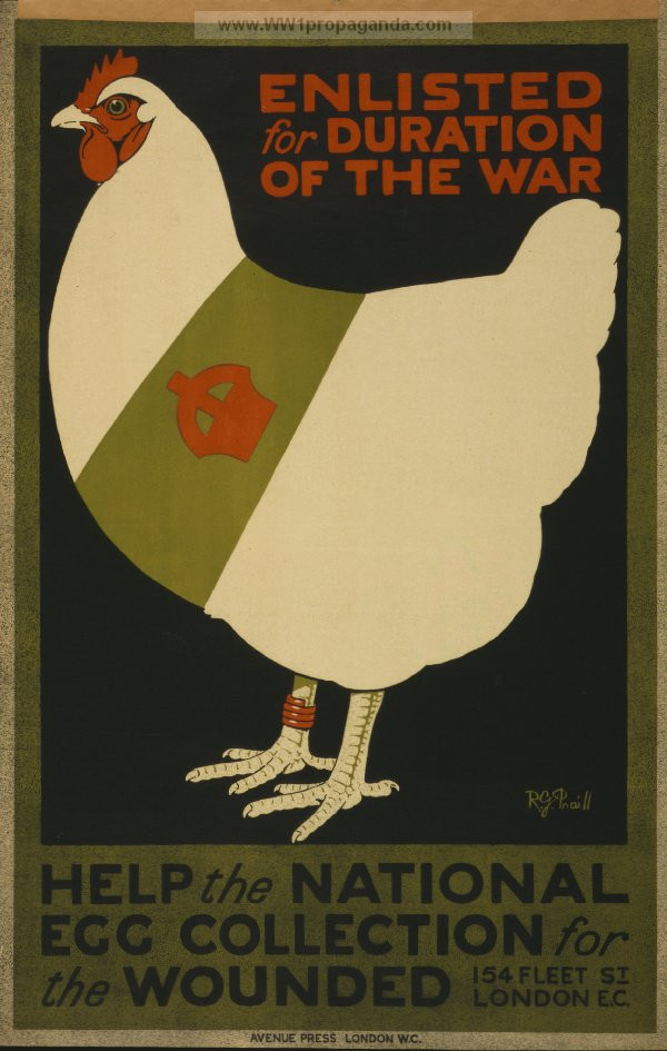 The poster by R.G. Praill that shows a chicken wearing a red leg band and a sash decorated with a crown.