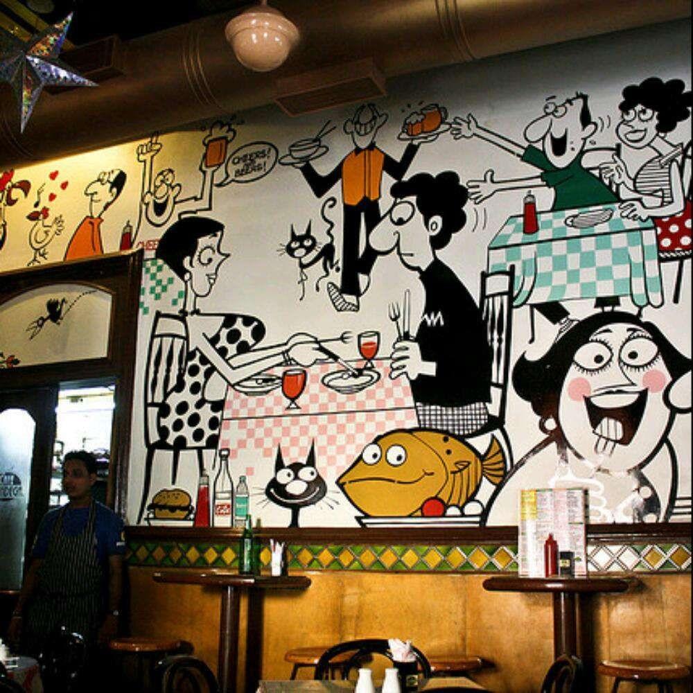 Wall Illustrations at Cafe Mondegar