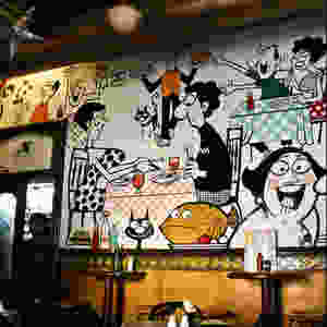 Wall Illustrations at Cafe Mondegar