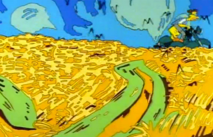 The Simpsons' version of Vincent van Gogh's 'Wheatfield with Crows'