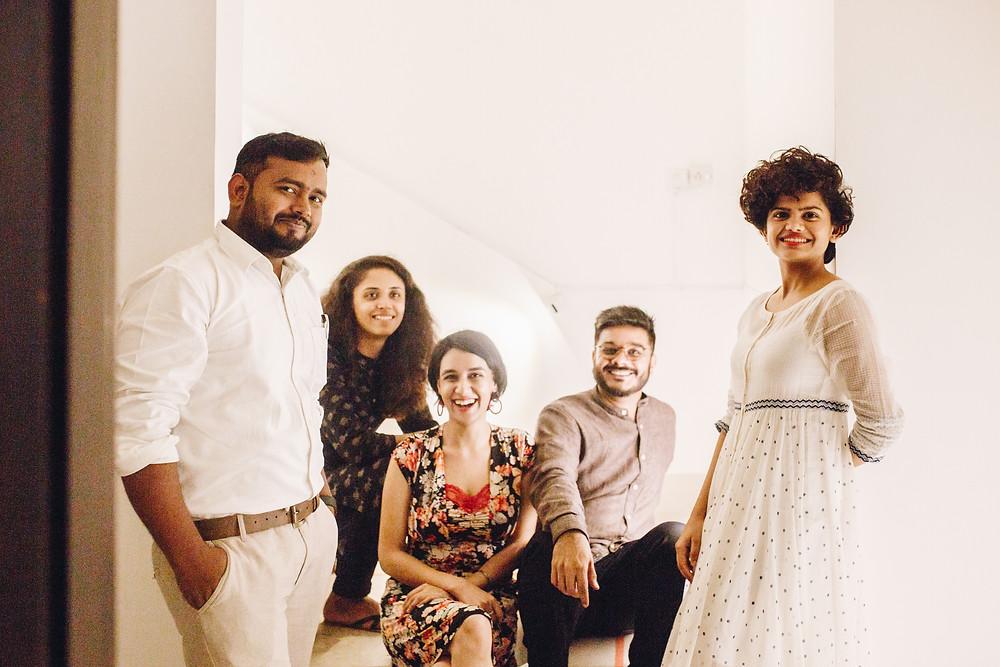 Dharti Arts Residency 2018 artists, Ravi Kumar Chaurasiya, Khushbu Patel, Jagrut Raval, Pannaga Jois with Residency Critic Kamayani Sharma