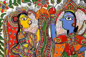 The fish-like eyes and pointed noses are characteristic of Madhubani paintings