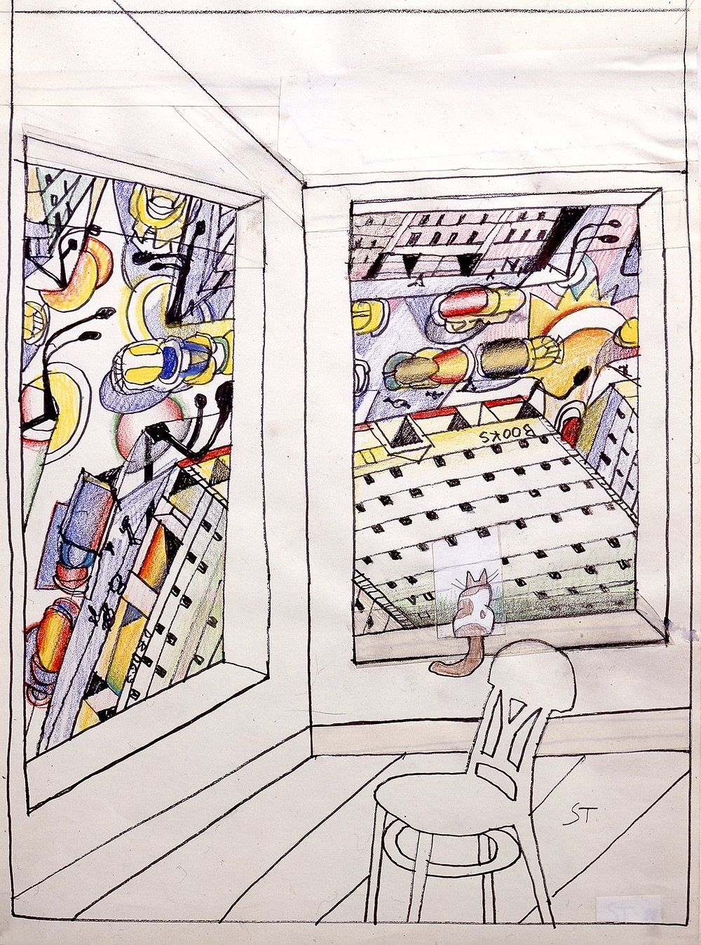 Saul Steinberg, 'Looking Down', 1988 Courtesy: Pace Gallery