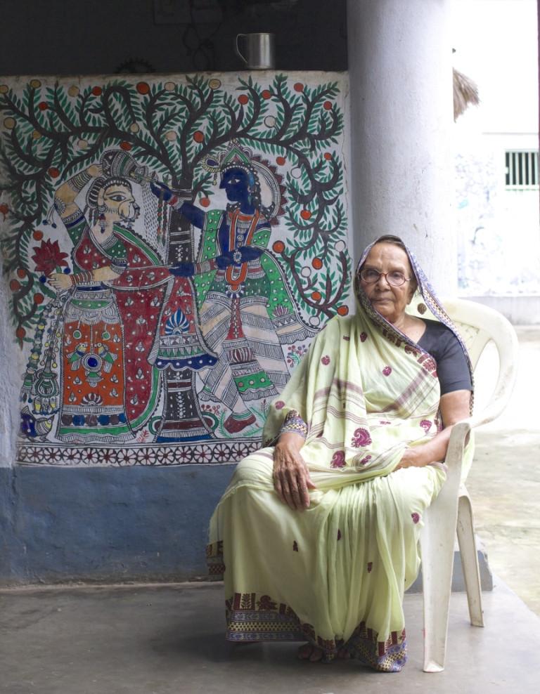 Karpuri Devi, one of the leaders of the Madhubani art community
