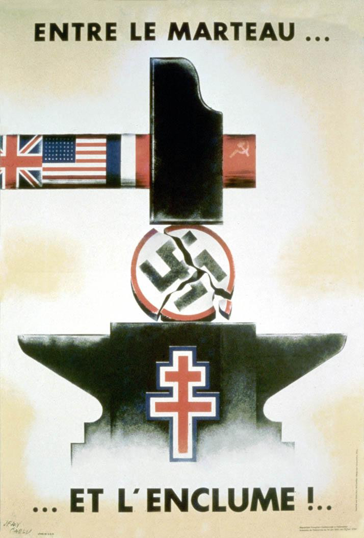 Poster by Jean Carlu depicting how the Nazi emblem is being crushed between the hammer and anvil