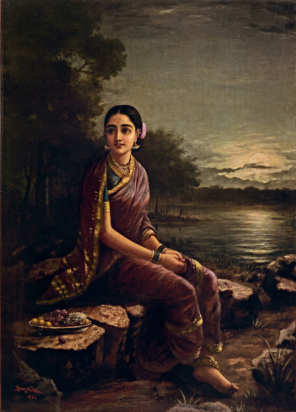 Raja Ravi Varma: Radha In The Moonlight, 1890