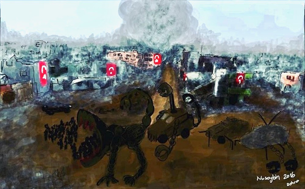 A smartphone drawing by Zehra Dogan of Nusaybin, Turkey destroyed by military forces
