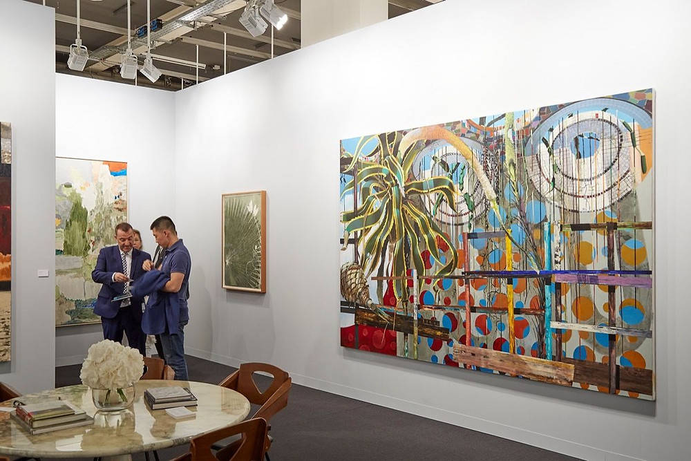 Installation view of a gallery booth at Art Basel, 2017