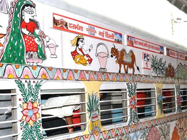 Mithila art designs on Indian trains