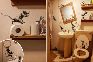 Image (3): Banksy's rats creating a mess in his bathroom, a Covid-19 lockdown art
