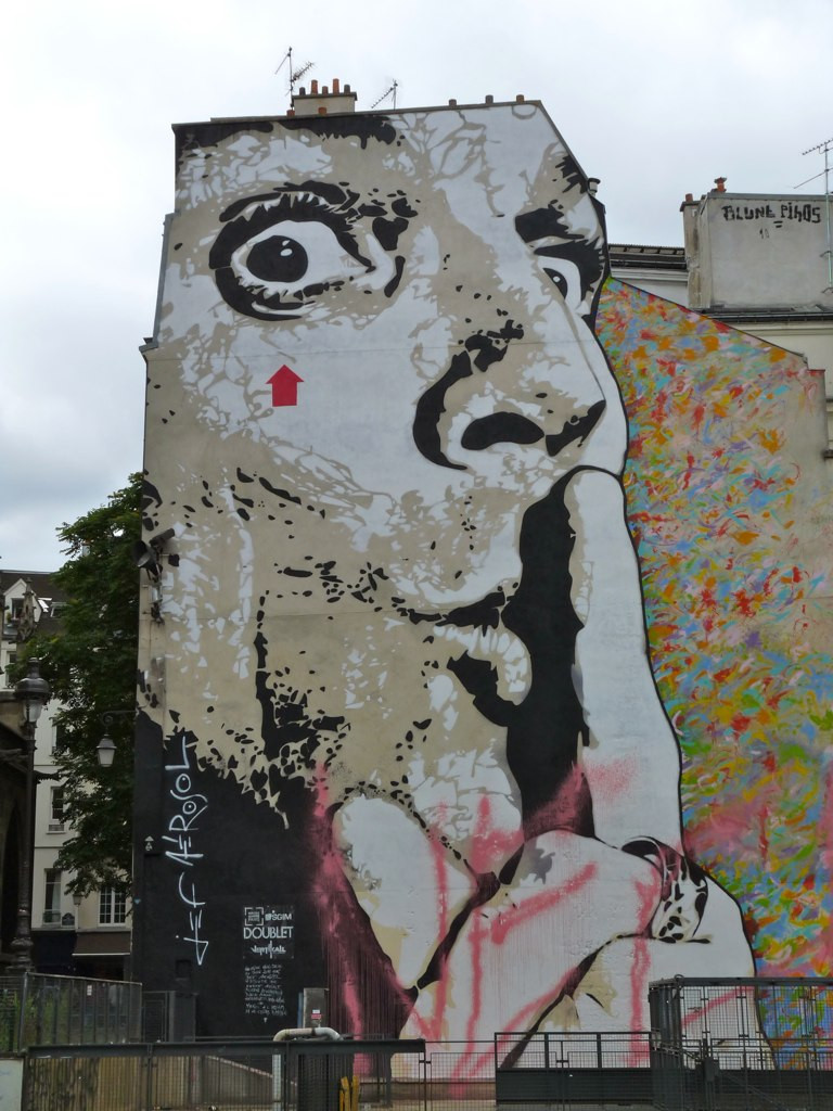 Image(1): The gigantic street art stencil by Jef Aerosol in Paris, France[c][d]