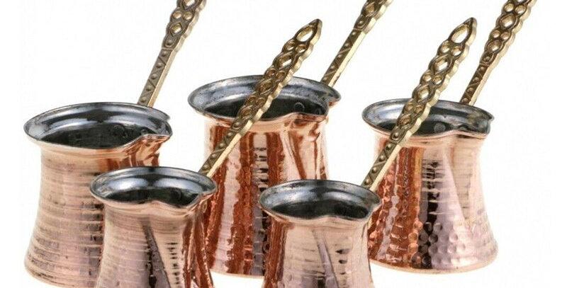 ماكينة صنع القهوة التركية من النحاس المطروق يدويًا Ibrik Vintage Jazzva Briki Cezve B.