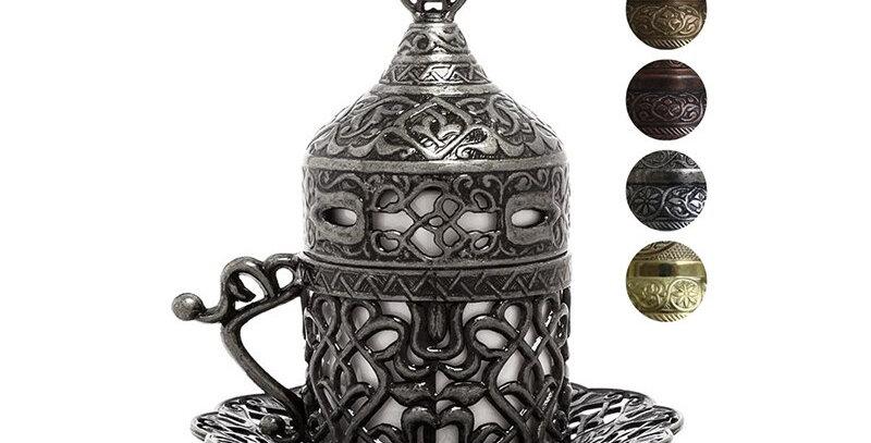 Istanbul Collection Handmade Greek Arabic Fancy Turkish Coffee Cups Gold Silver