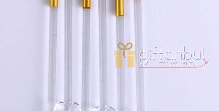 6 Pieces Set Glass Tea Spoon Creative Coffee Spoons Gold Colour