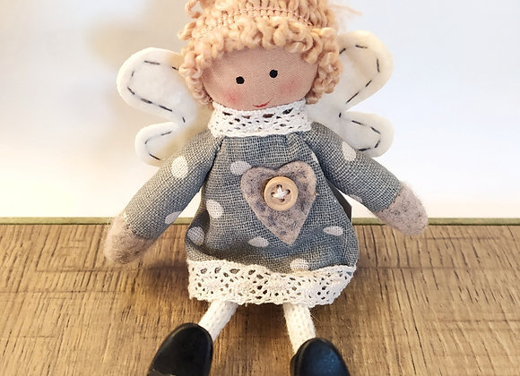 Fabric angel with wooden shoes