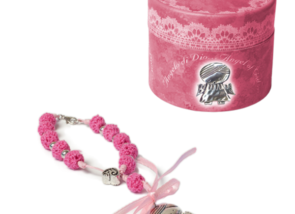 Pink 10-bead rosary with angel