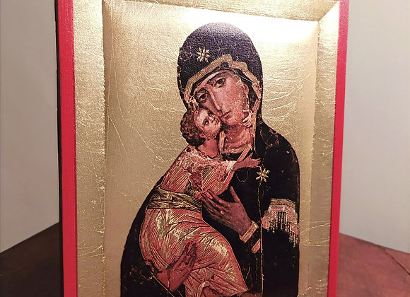 """Gold Foil """"Mother and Child"""" Icon"""