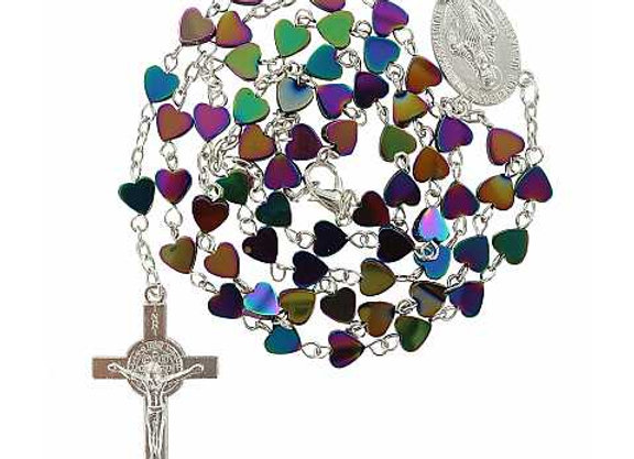 Rosary with heart shaped beads