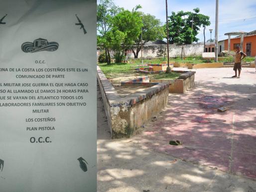 """Panfleto del GOD """"Los Costeños"""" amenazan a los habitantes del barrio Cachimbero de Soledad"""