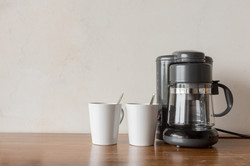 Coffee blender and boiler with coffee cu